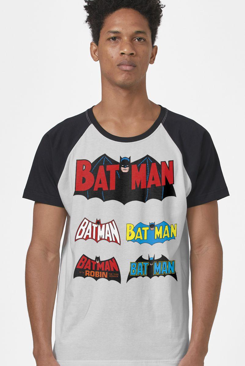Camiseta Raglan Masculina Batman Logos Clássicos
