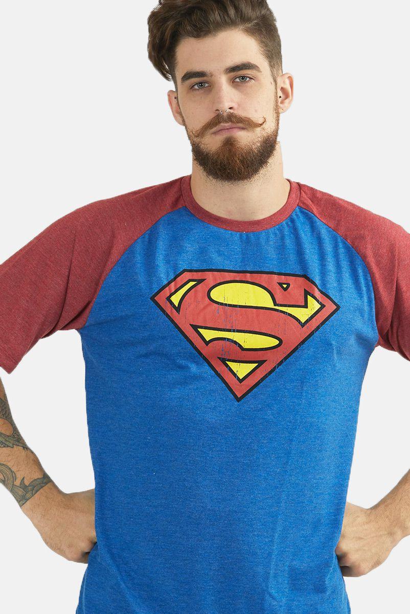 Camiseta Raglan Masculina Superman Logo Clássico