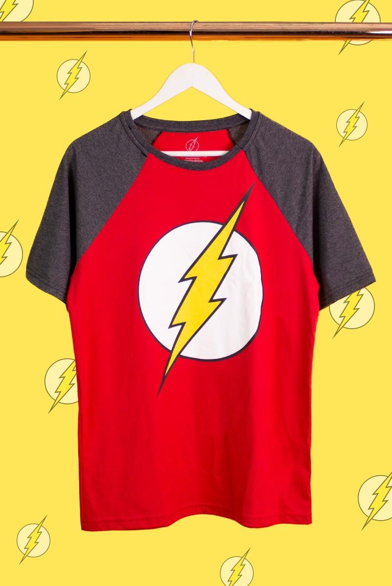 Camiseta Raglan Masculina The Flash Logo
