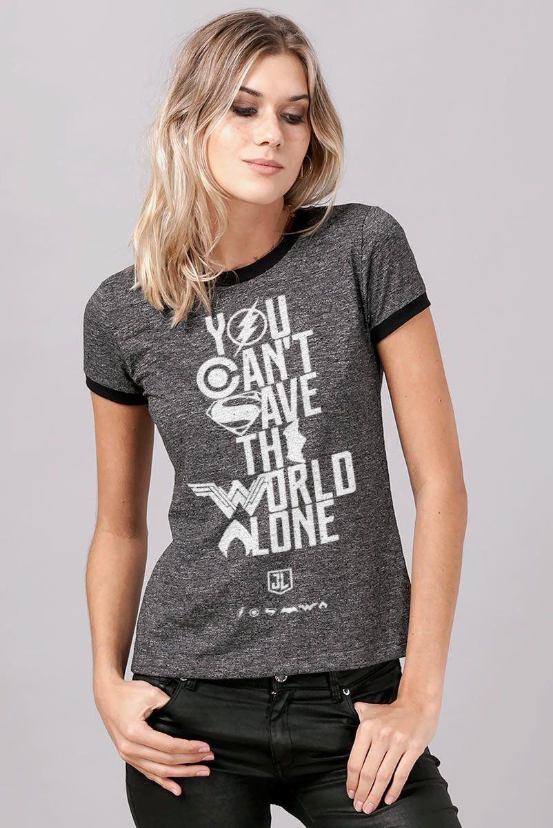 Camiseta Ringer Feminina Liga da Justiça You Can´t Save