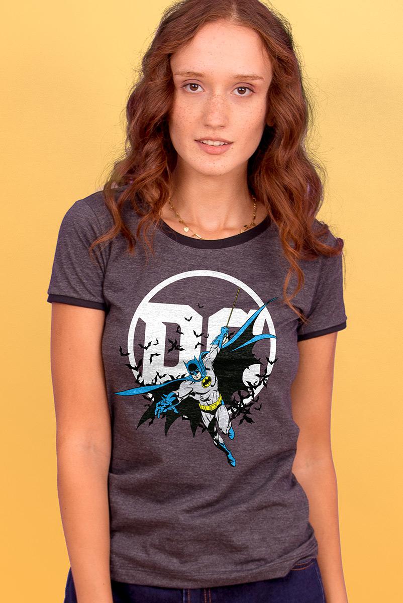 Camiseta Ringer Feminina Logo DC Batman