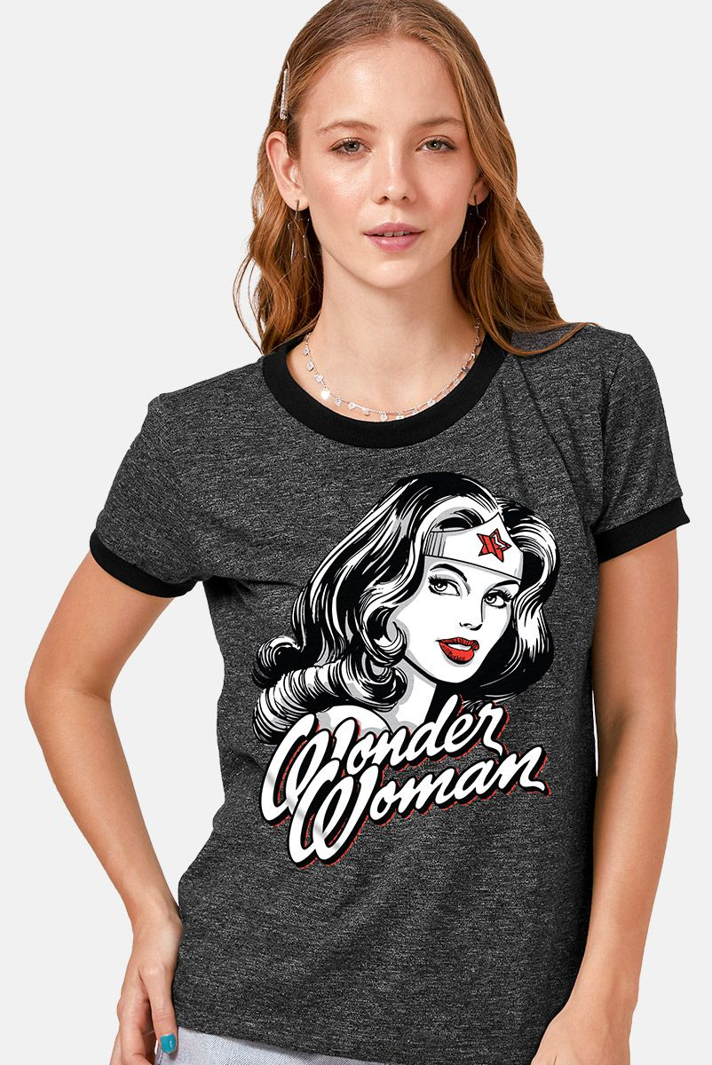 Camiseta Ringer Feminina Mulher Maravilha Fashion