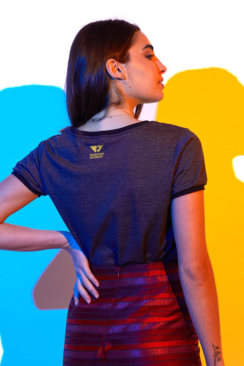 Camiseta Ringer Feminina Mulher Maravilha Laço da Verdade