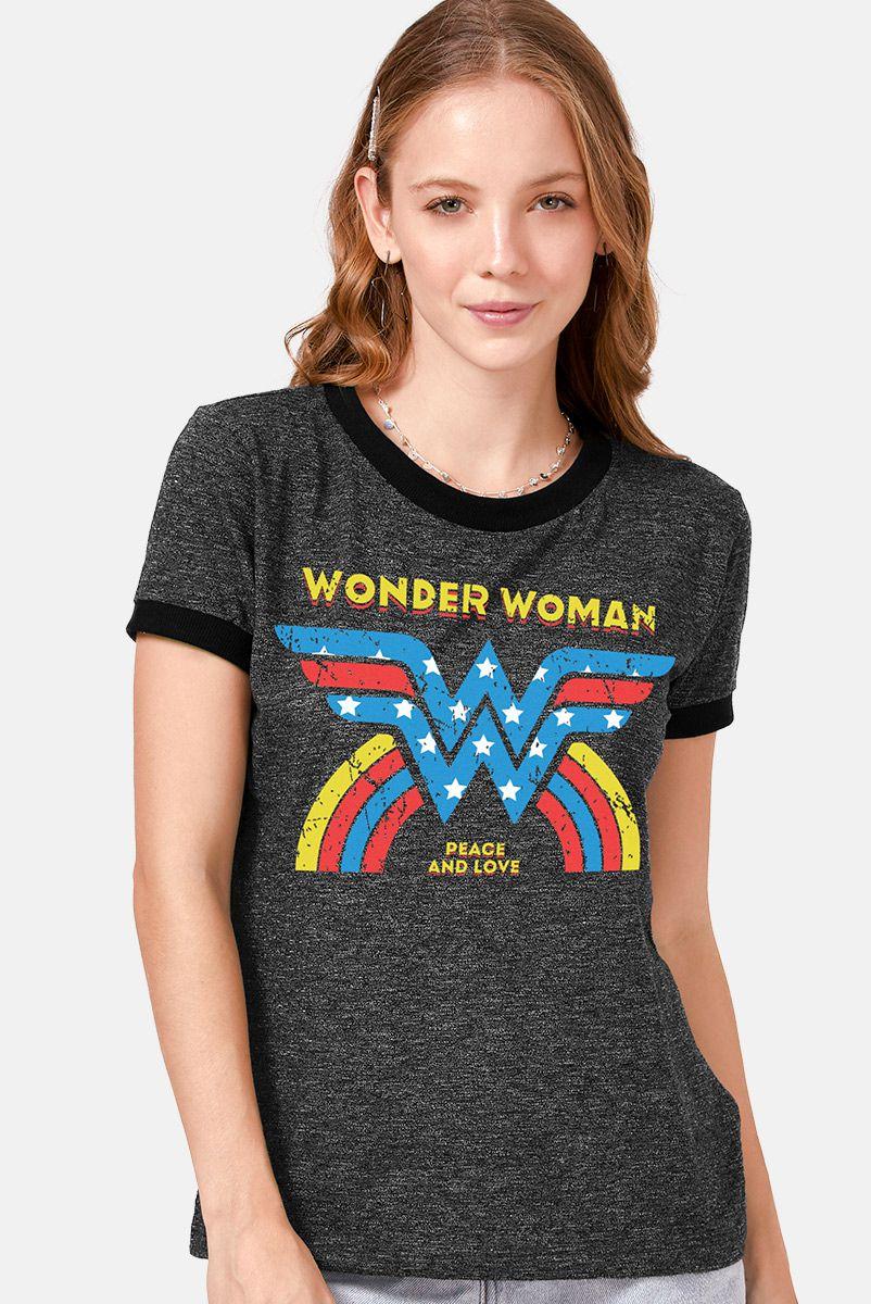 Camiseta Ringer Feminina Mulher Maravilha Peace and Love