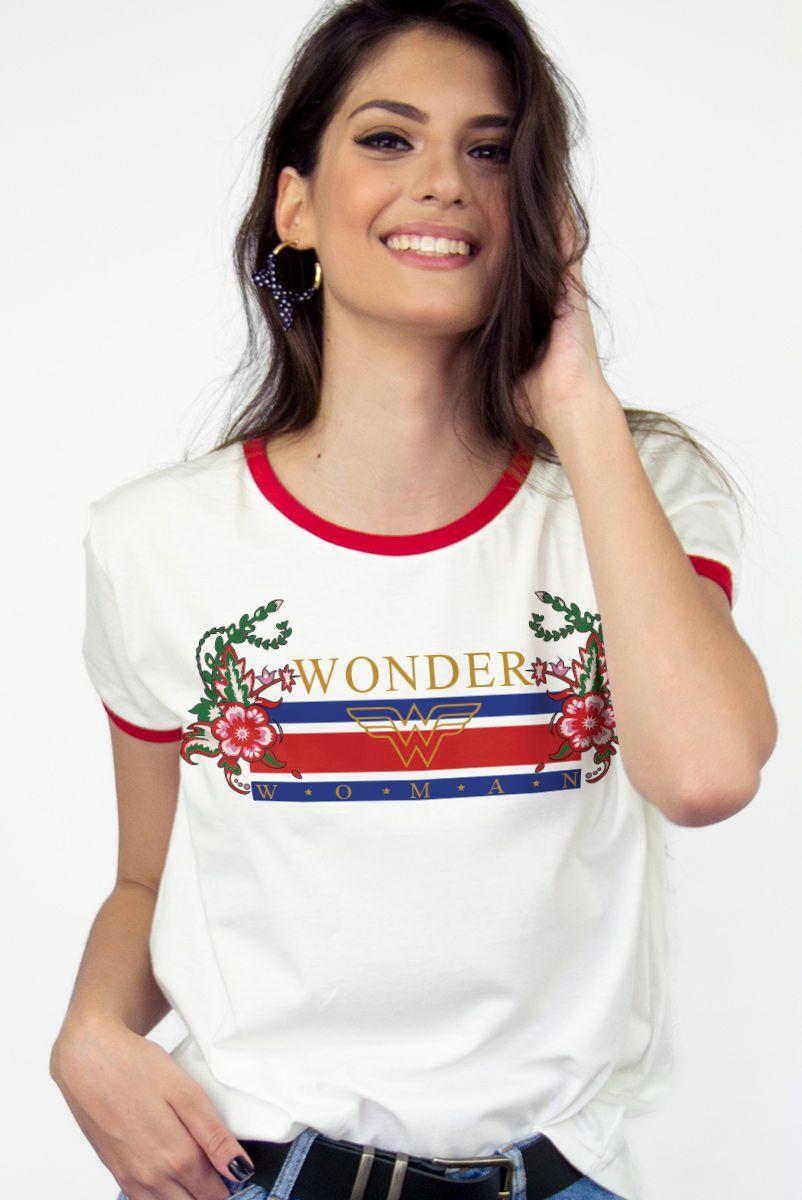 Camiseta Ringer Feminina Mulher Maravilha Stripes