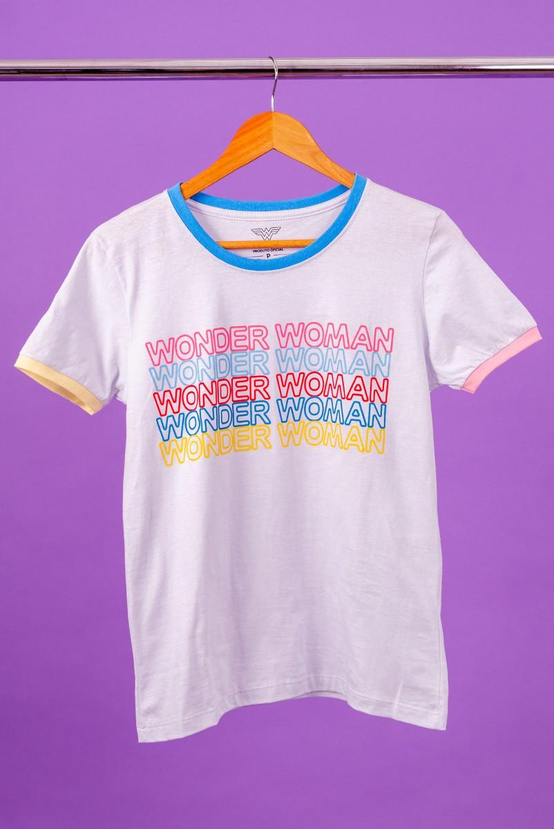 Camiseta Ringer Tricolor Feminina Mulher Maravilha