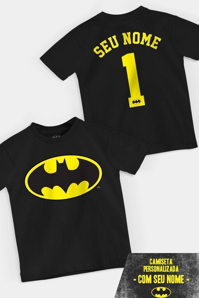 Camiseta Infantil Batman Logo Name Personalizada