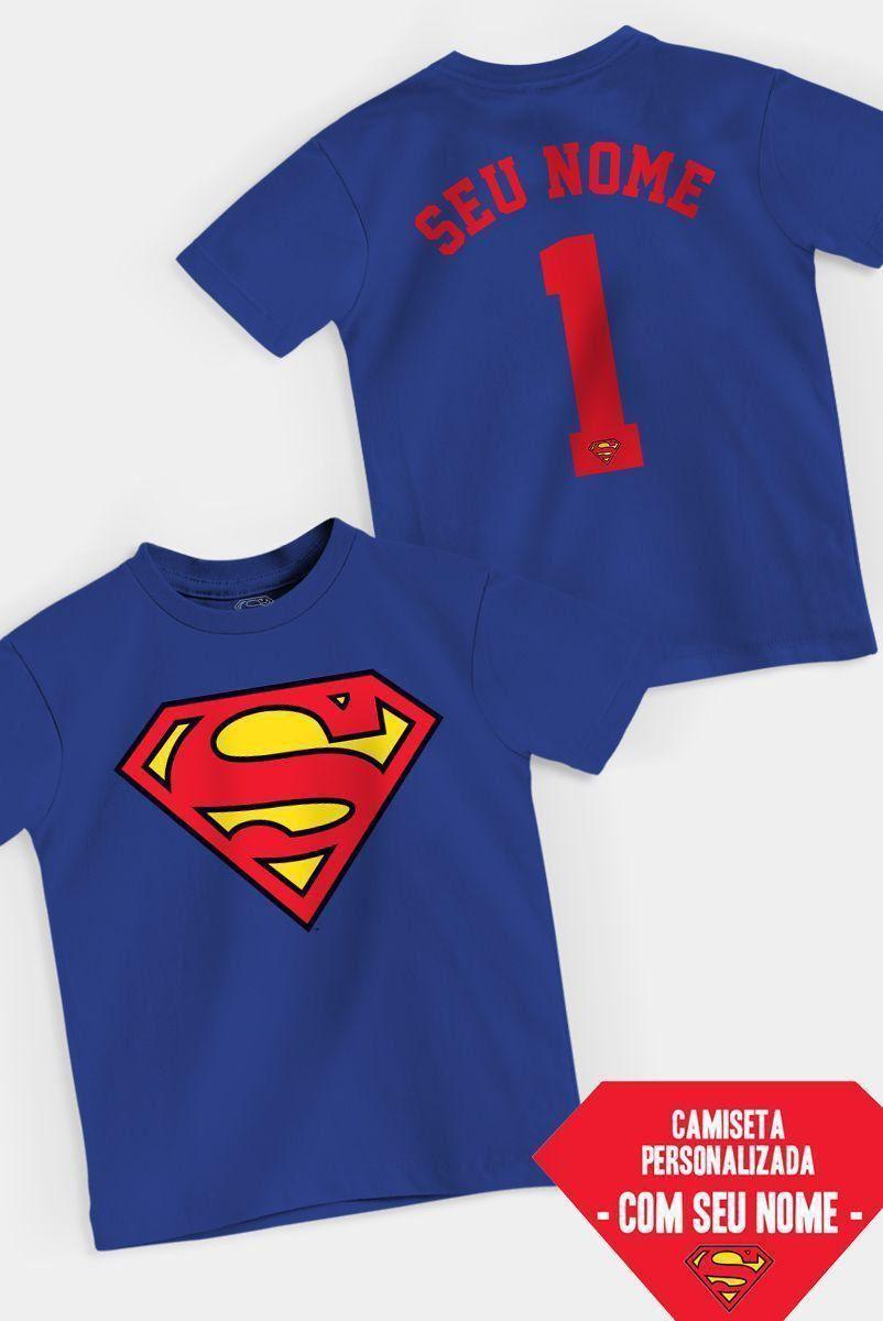Camiseta Infantil Superman Logo Name Personalizada