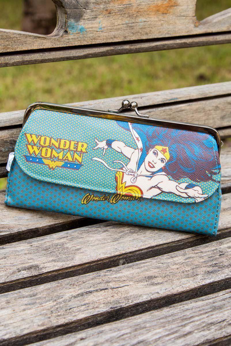 Carteira Feminina DC Wonder Woman Pois Azul