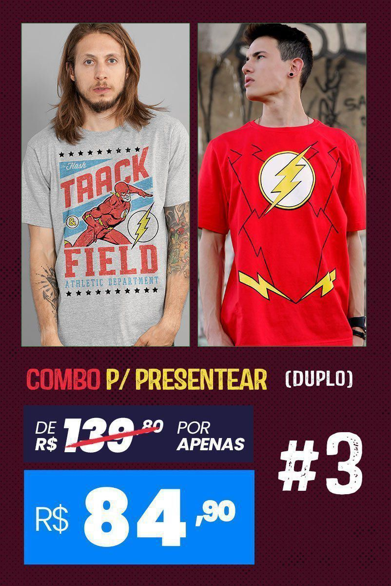 Combo 2 Camisetas Masculinas The Flash BF