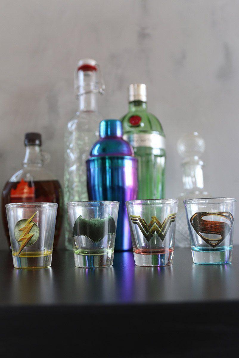 Conjunto com 4 Shots de Vidro Liga da Justiça Movie Logos