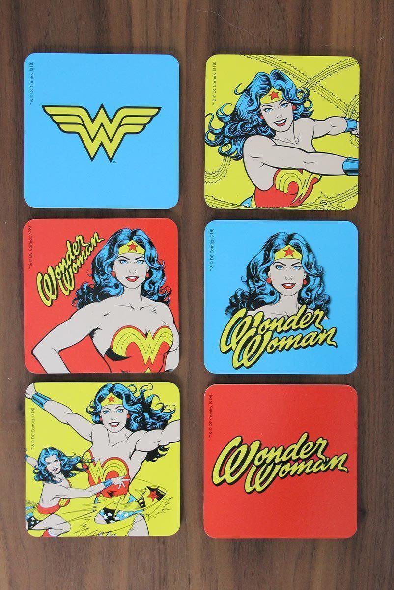 Conjunto de Porta Copos Mulher Maravilha Logos