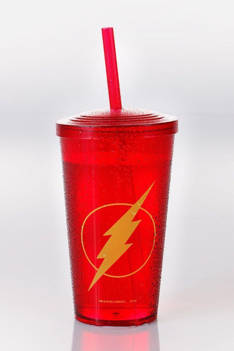 Copo Acrílico Vermelho The Flash Logo