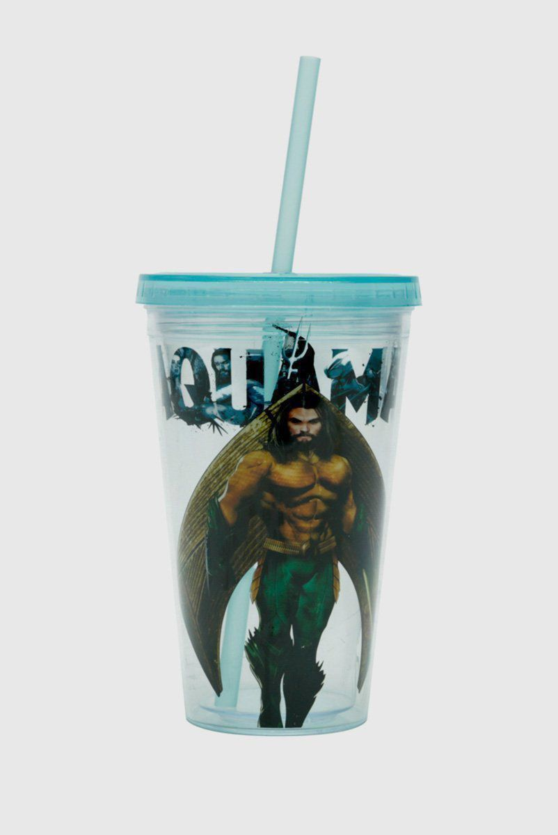 Copo com Tampa e Canudo Aquaman Movie Character