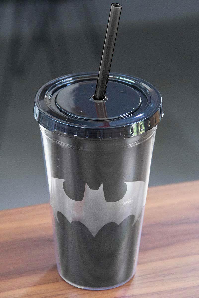 Copo com Tampa e Canudo Batman Logo Transparente