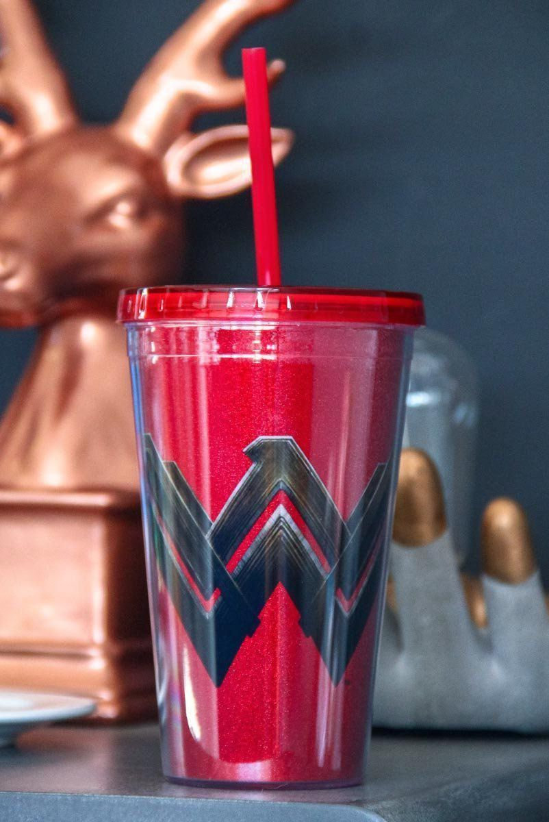 Copo com Tampa e Canudo Wonder Woman Logo Movie Glitter