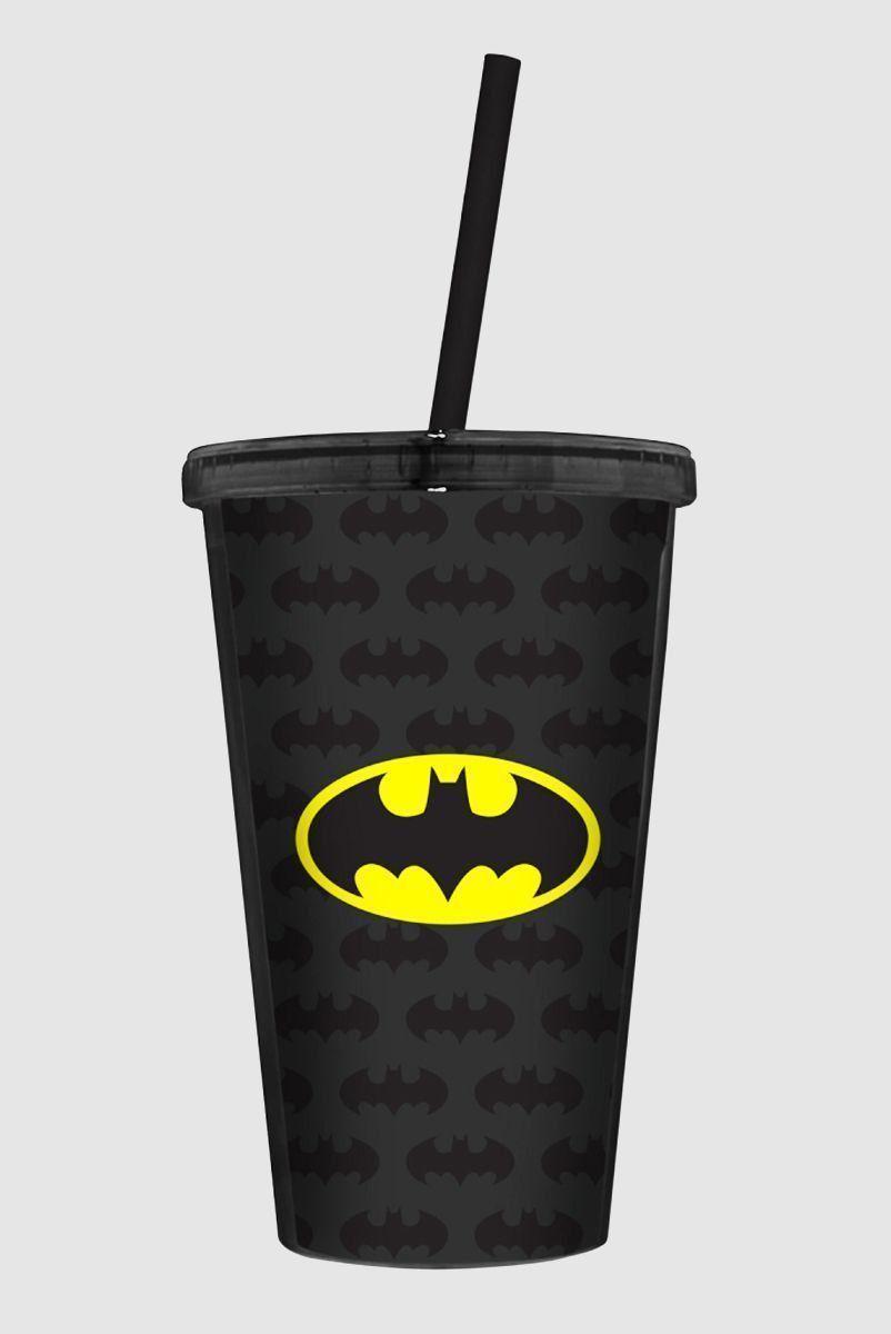 Copo Com Tampa e Canudo Batman Logo