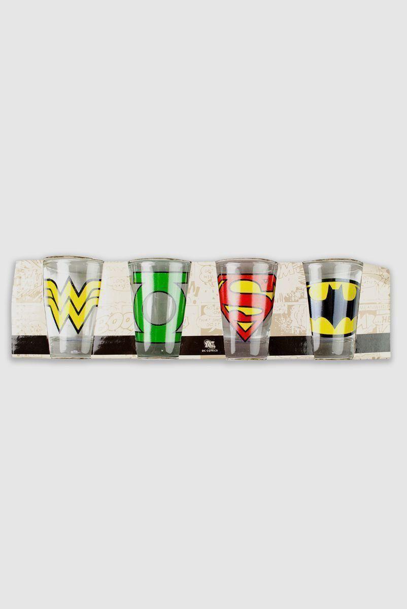 Conjunto com 4 Copos Shots de Vidro DC Comics Logos