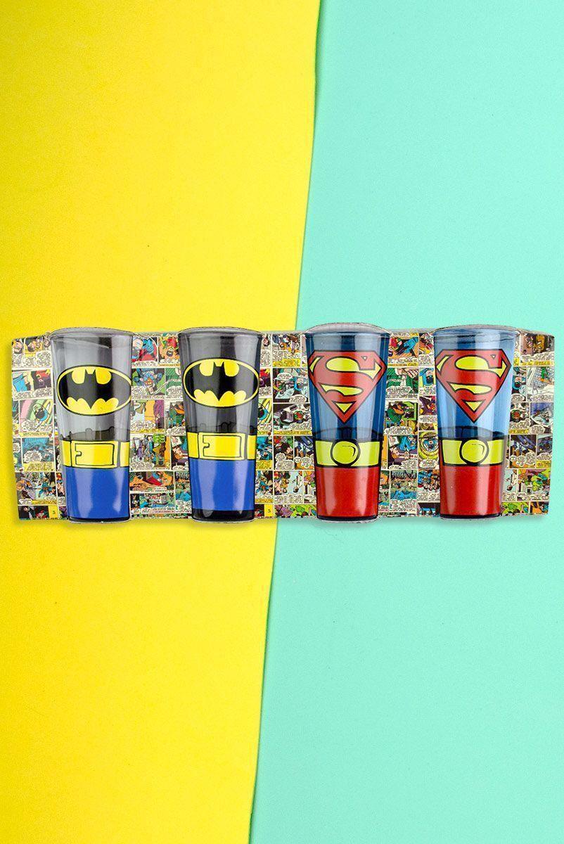 Set 4 Copos Caldereta Batman e Superman
