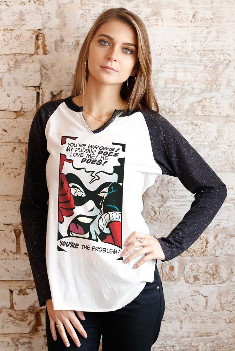 Camiseta Manga Longa Feminina Harley Quinn You´re The Problem