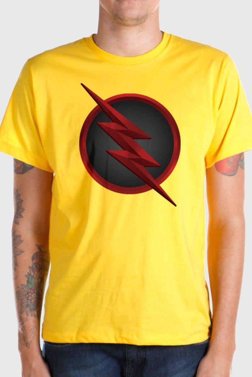 Camiseta Masculina The Flash Série Logo Reverse