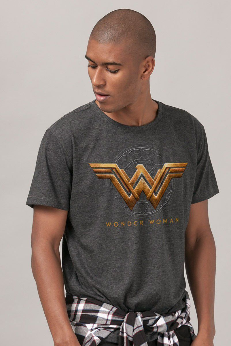 Camiseta Masculina Mulher Maravilha Logo Filme