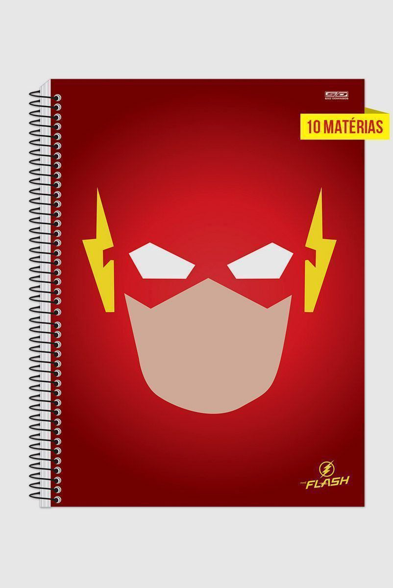 Caderno The Flash Face Vector 10 Matérias