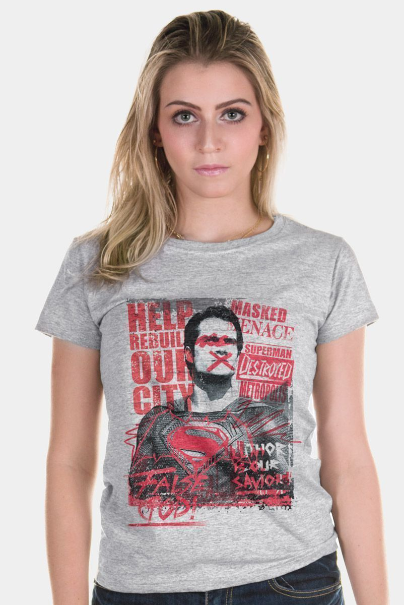 Camiseta Feminina Batman VS Superman False God