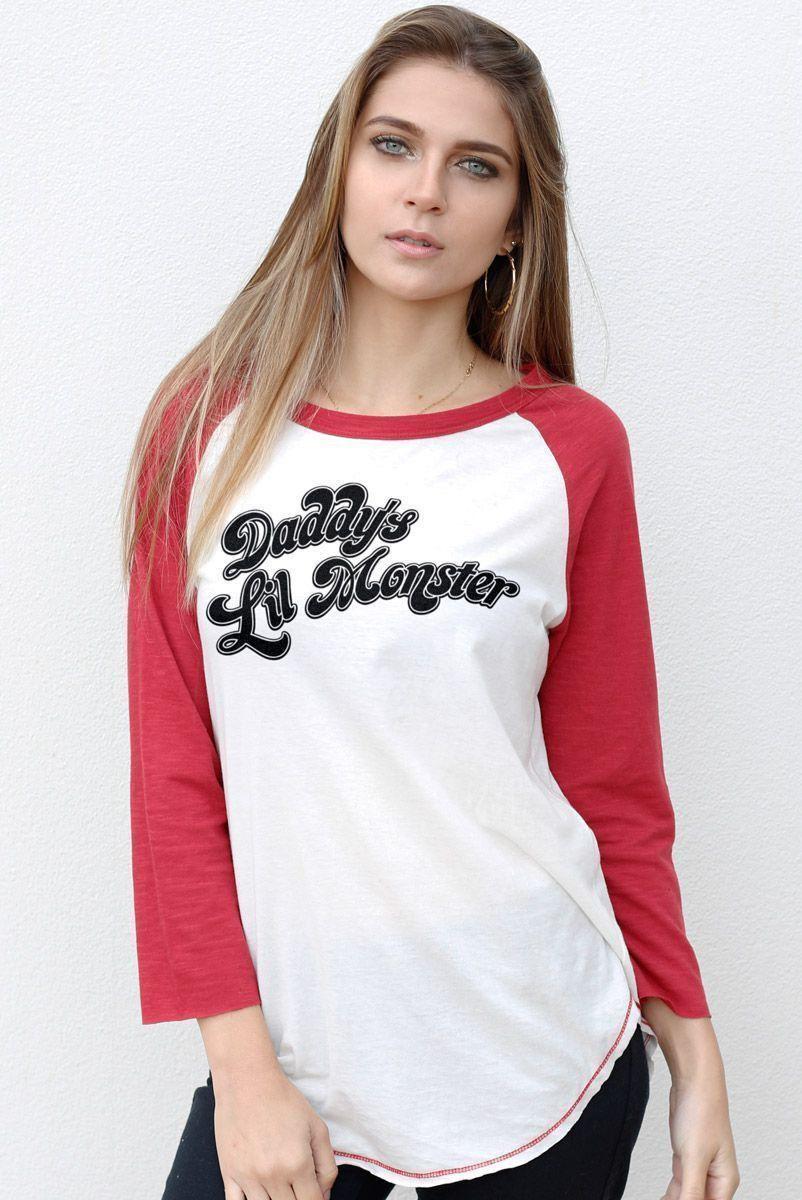 Camiseta Manga Longa Feminina Esquadrão Suicida Daddy's Lil Monster