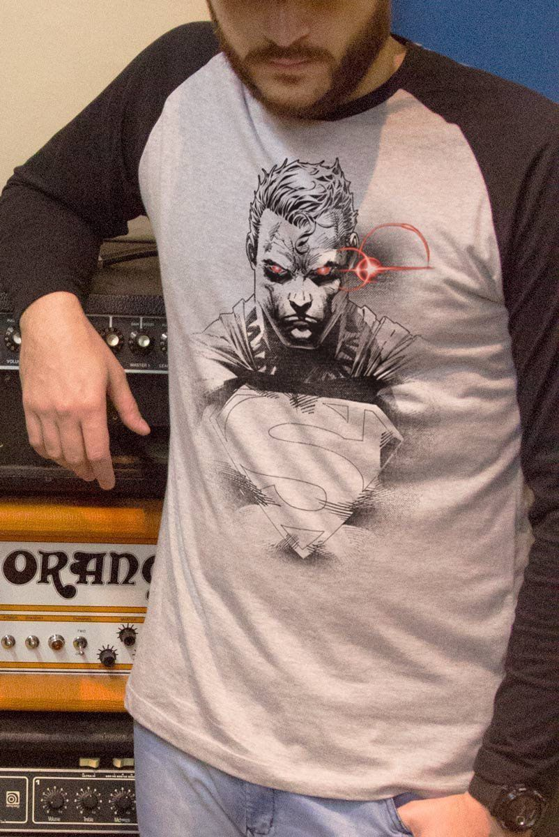 Camiseta Manga Longa Raglan Masculina Superman X-Ray Vision