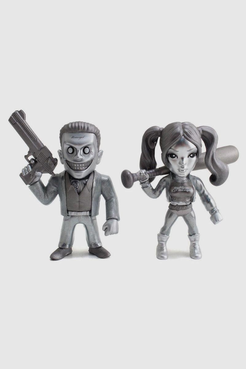 Bonecos Suicide Squad 4' Twin Pack Coringa Boss e Harley Quinn