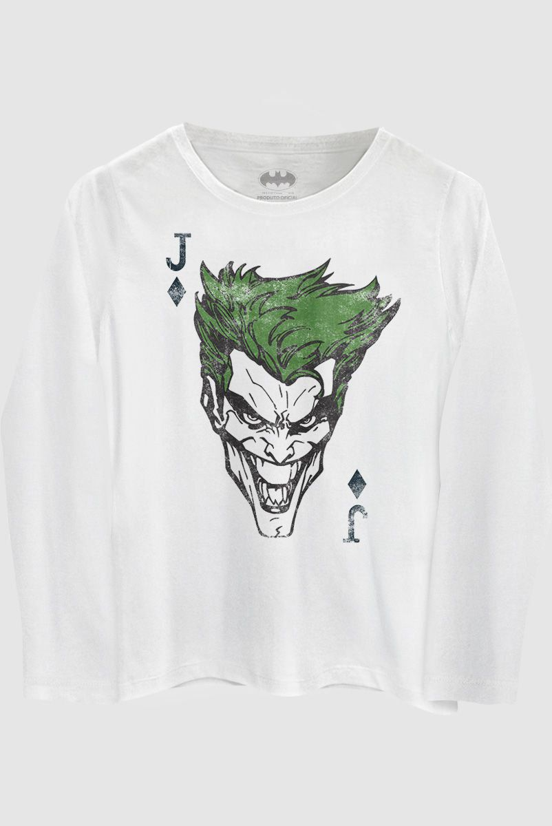 Camiseta Manga Longa Unissex Branco The Joker Card
