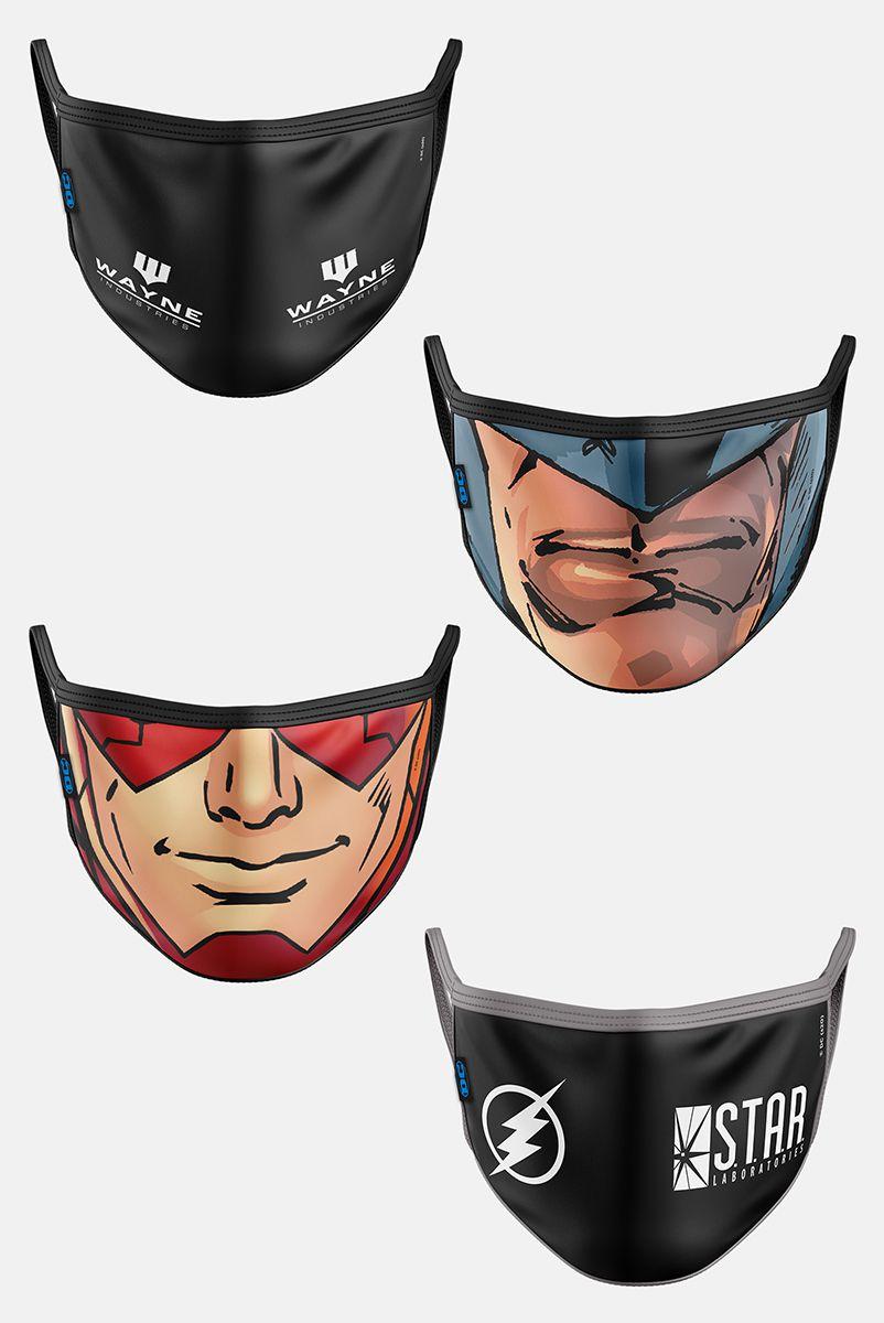 Kit com 4 Máscaras DC Comics Heróis e Organizações