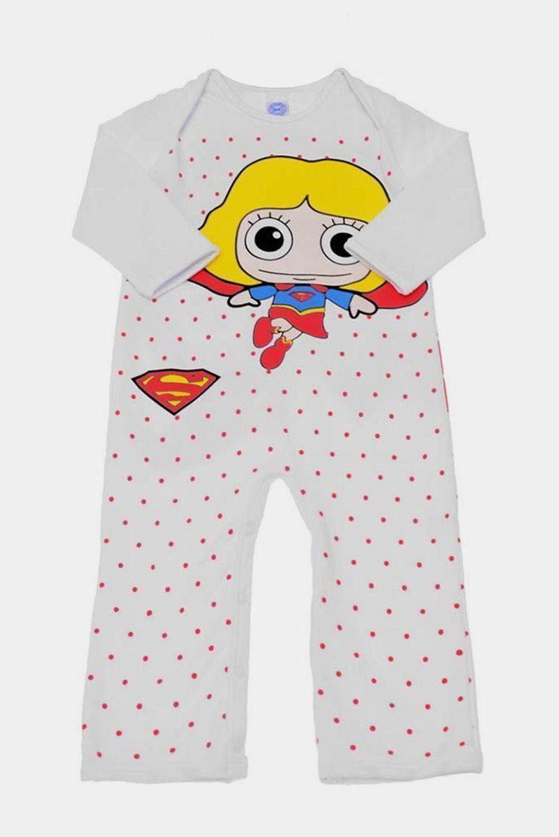 Macacão Infantil de Manga Longa Supergirl Poá