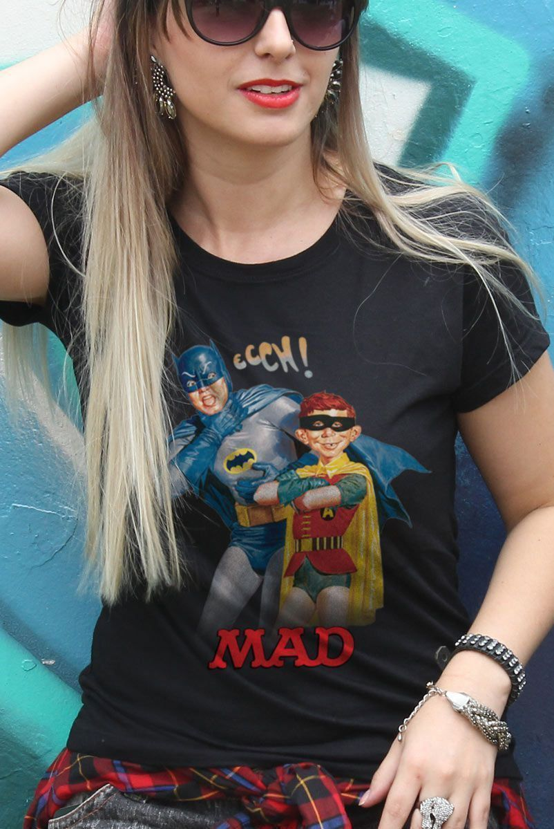 Camiseta Feminina Batman e MAD