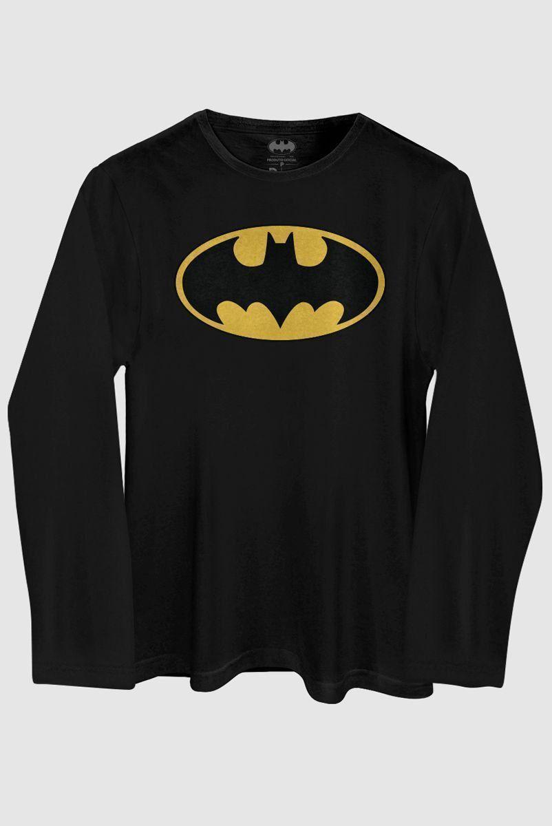 Camiseta Masculina de Manga Longa Batman Logo