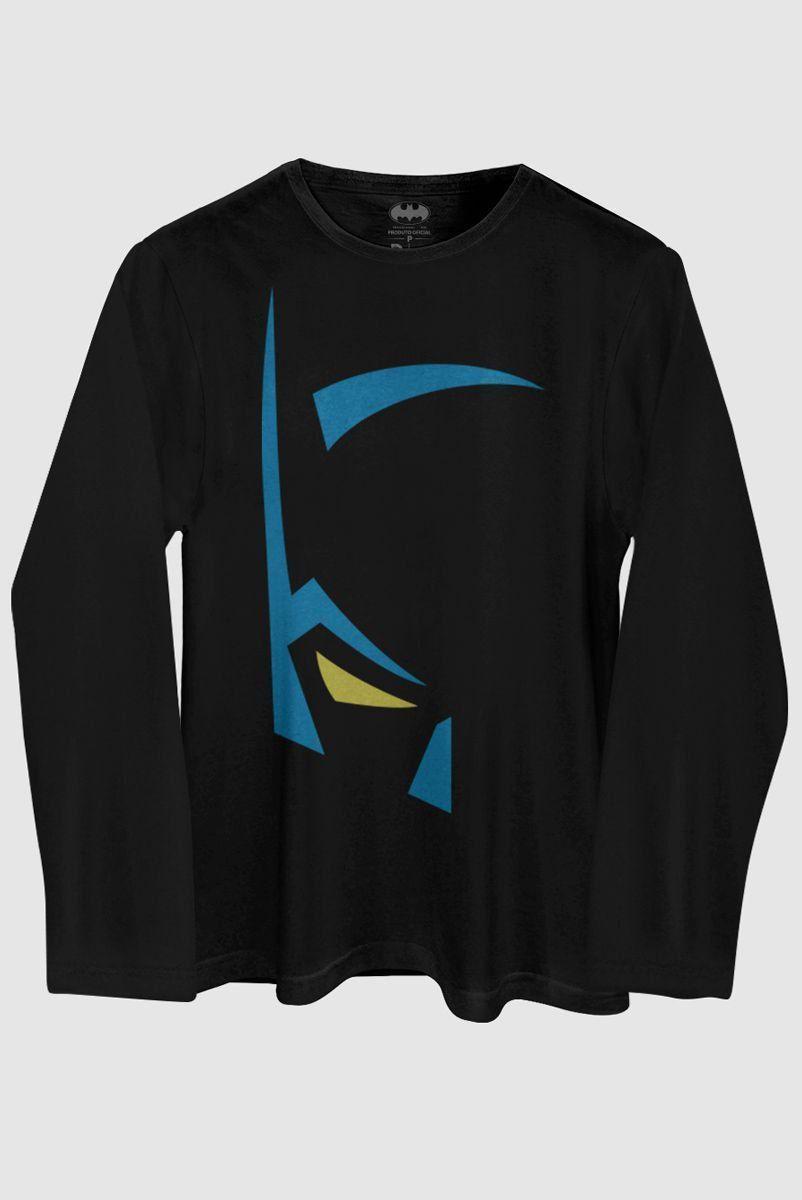 Camiseta Masculina de Manga Longa Batman Mask