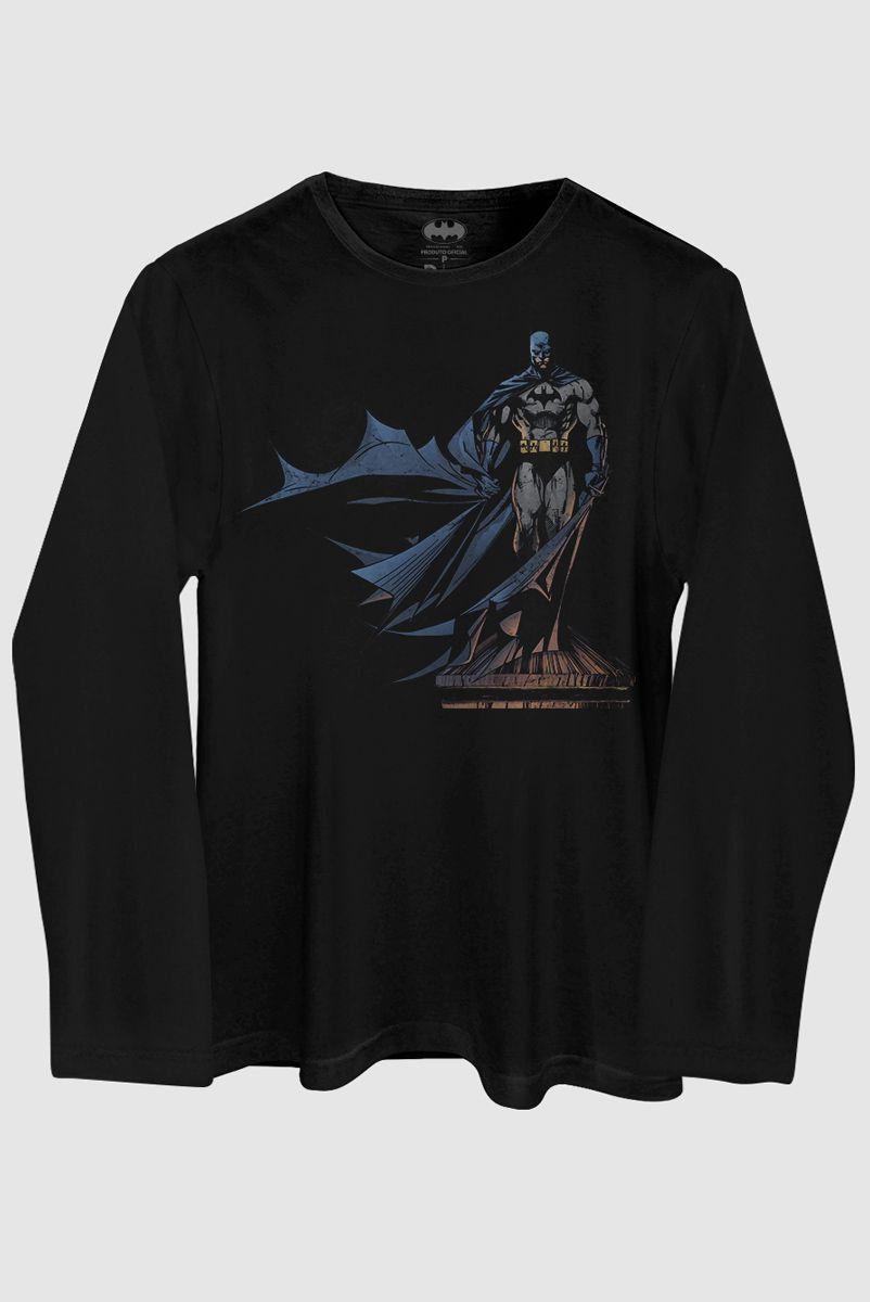 Camiseta Masculina de Manga Longa Batman The Dark Knight 2