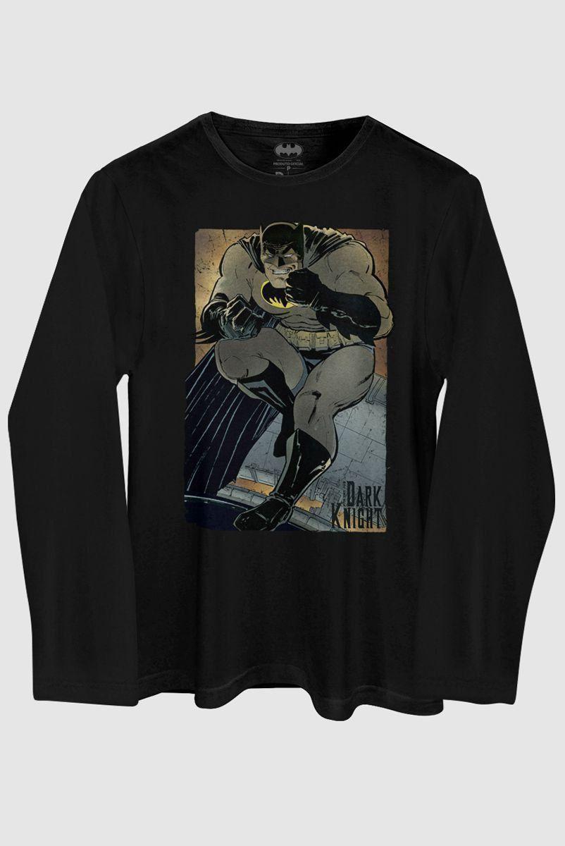 Camiseta Masculina de Manga Longa Batman The Dark Knight Frank Miller Classic