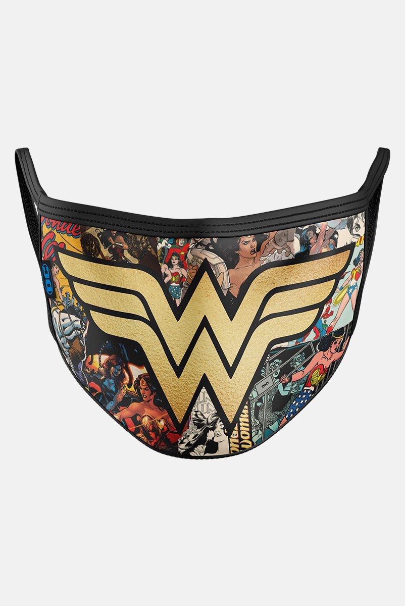 Máscara Mulher Maravilha Logo Dourado