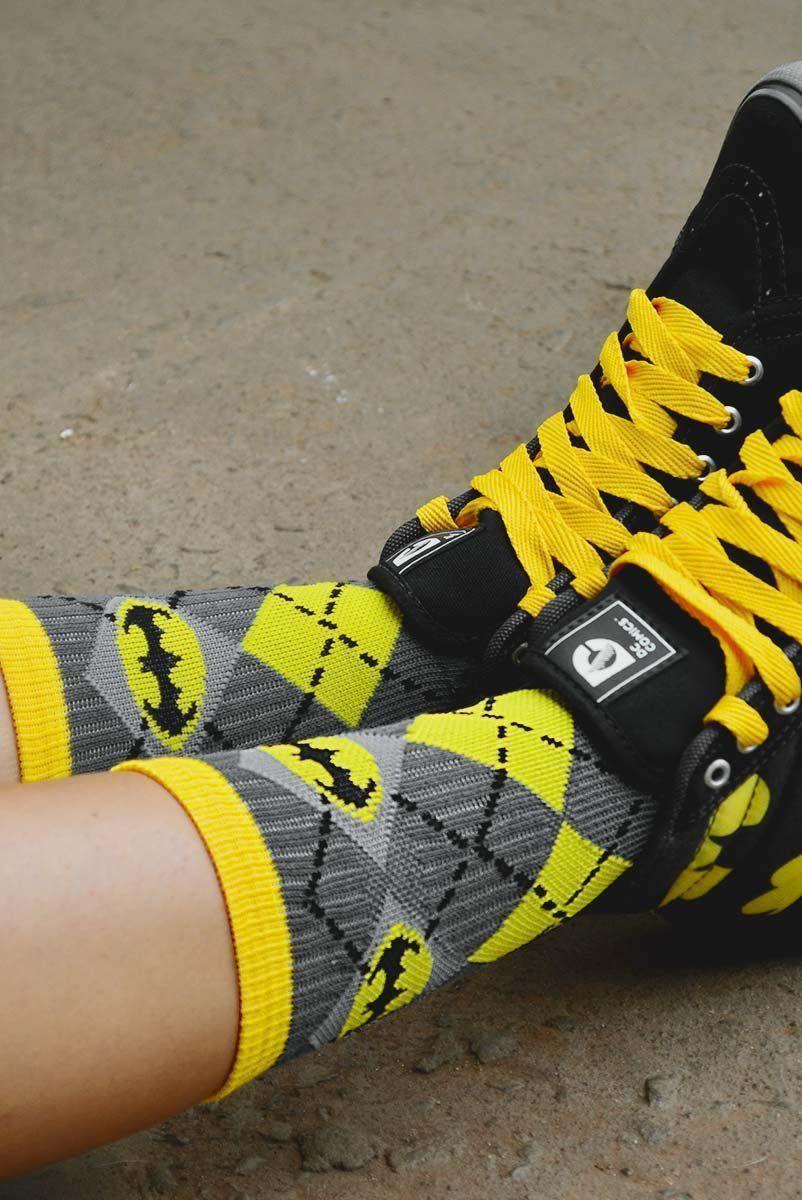 Meia Cano Alto Batman Xadrez