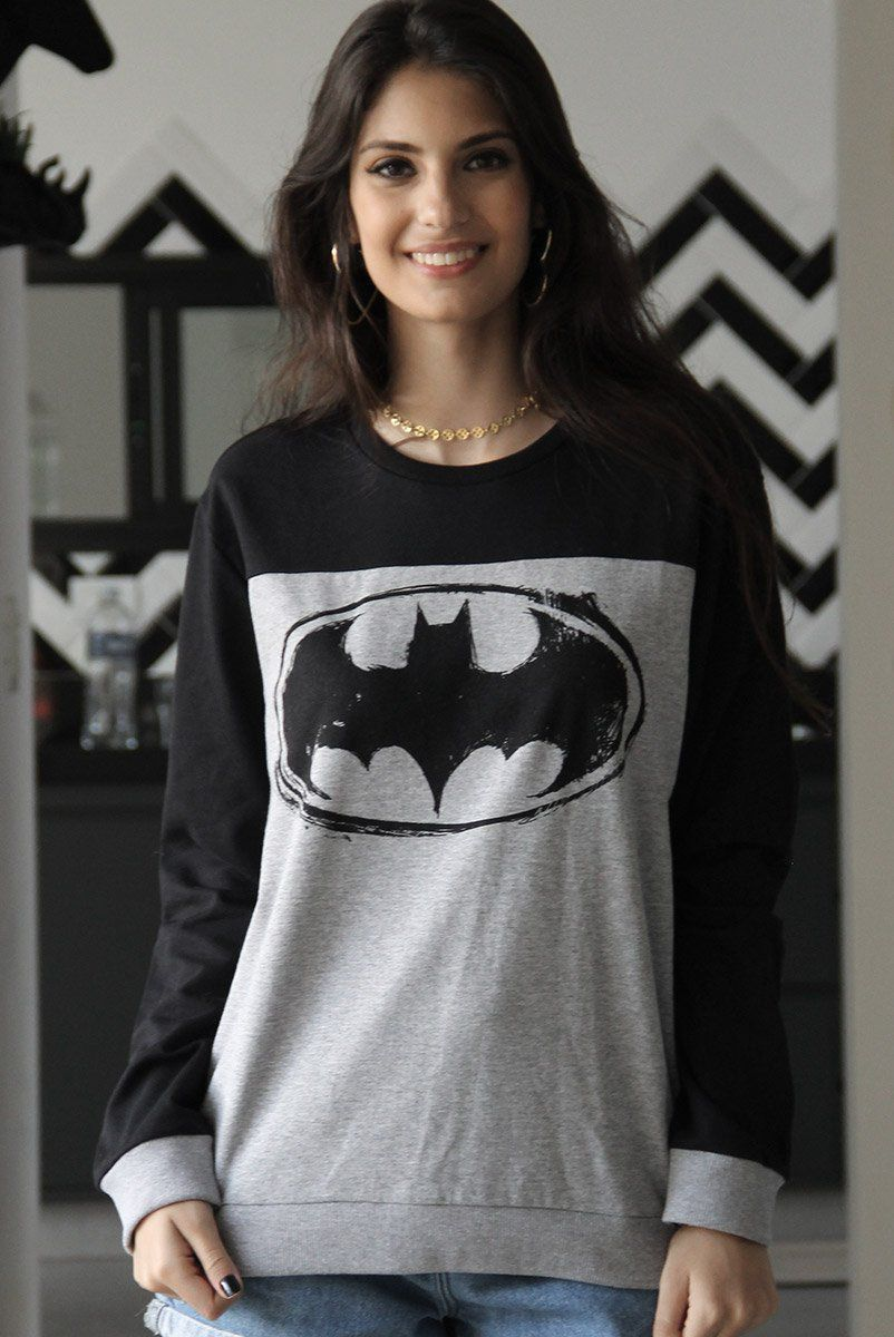 Moletom Bicolor Feminino Batman Logo
