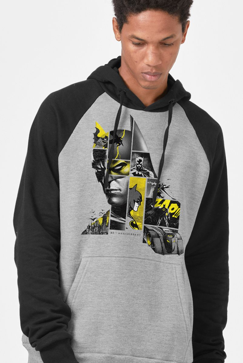 Moletom Raglan Batman 80 Anos As Faces de Batman