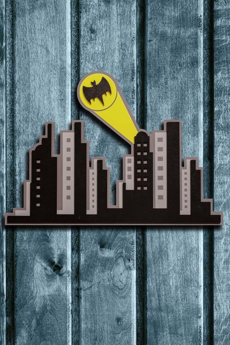 Placa de Madeira Batman Gotham City