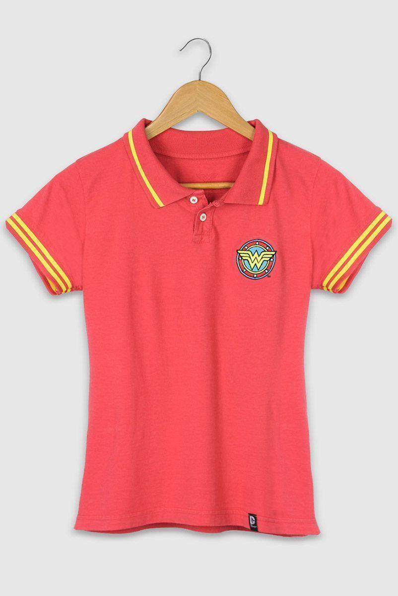 Camisa Polo Feminina Wonder Woman Logo