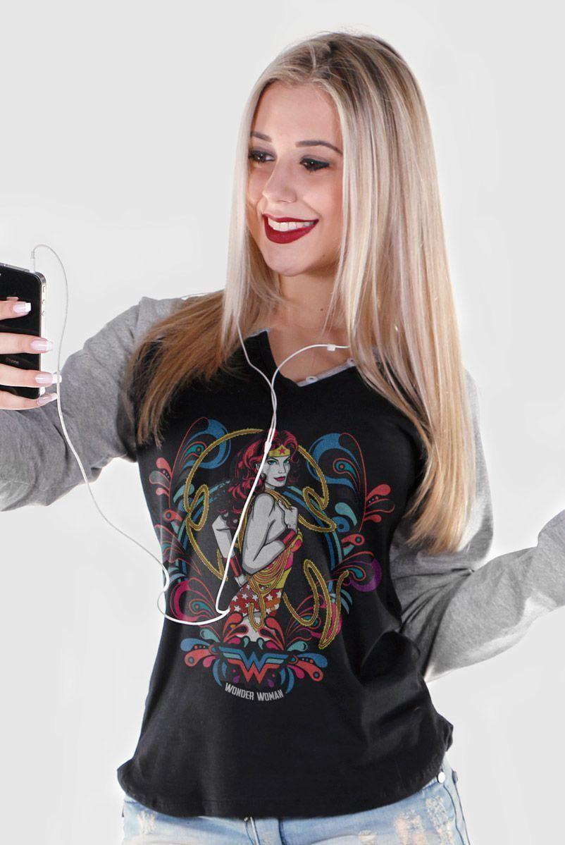 Camiseta Raglan Feminina Mulher Maravilha Colors