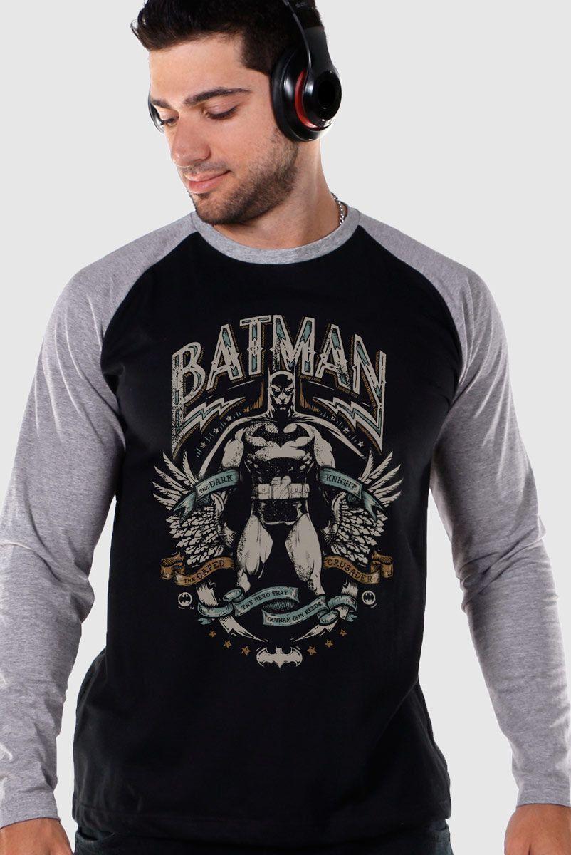 Camiseta Raglan Masculina Batman Dark Knight