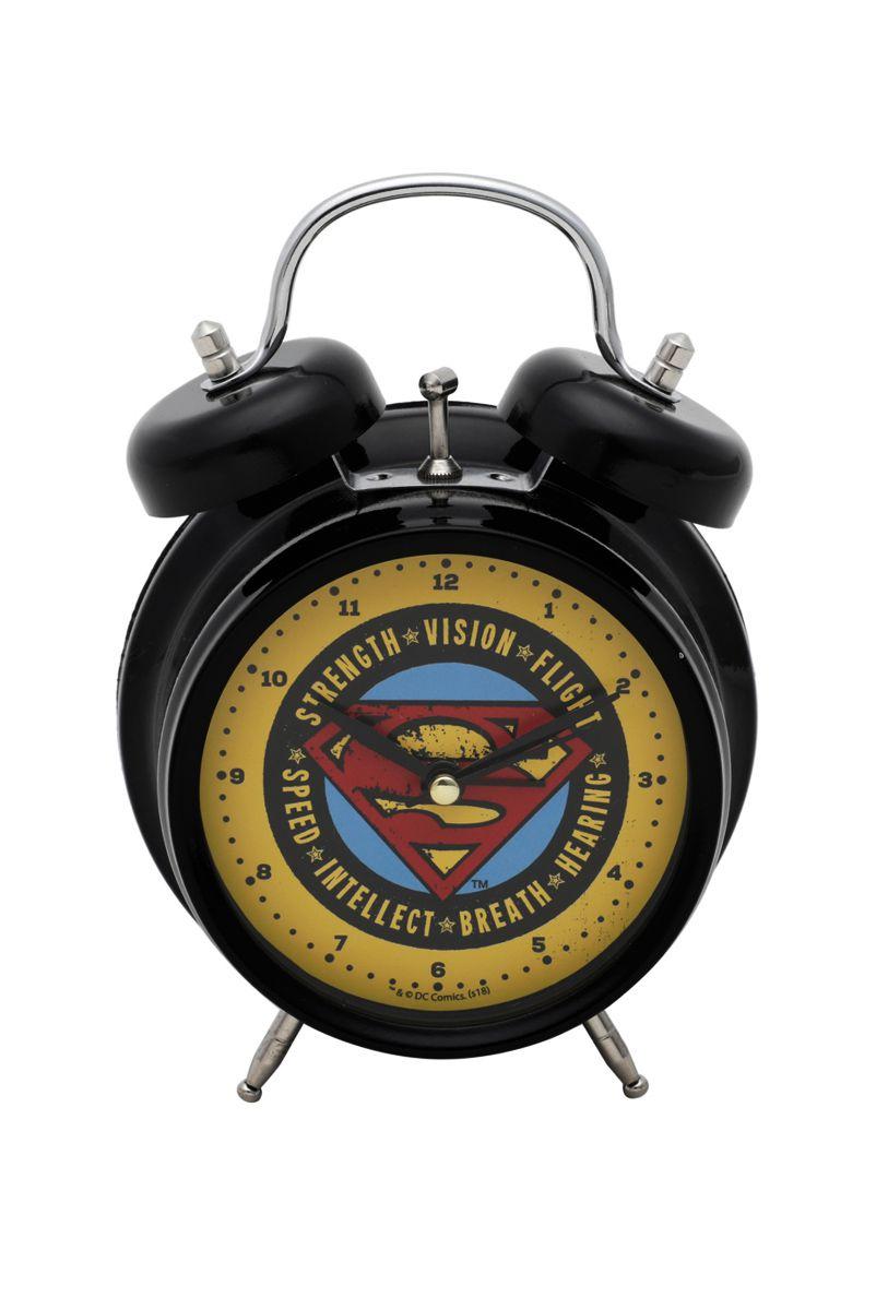 Relógio Despertador Preto Superman Logo