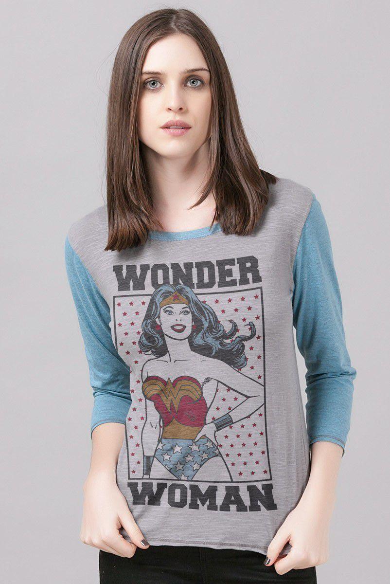 df4ef38805 Camiseta Manga Longa Feminina Wonder Woman Retro Stars - Loja DC Comics  Oficial ...