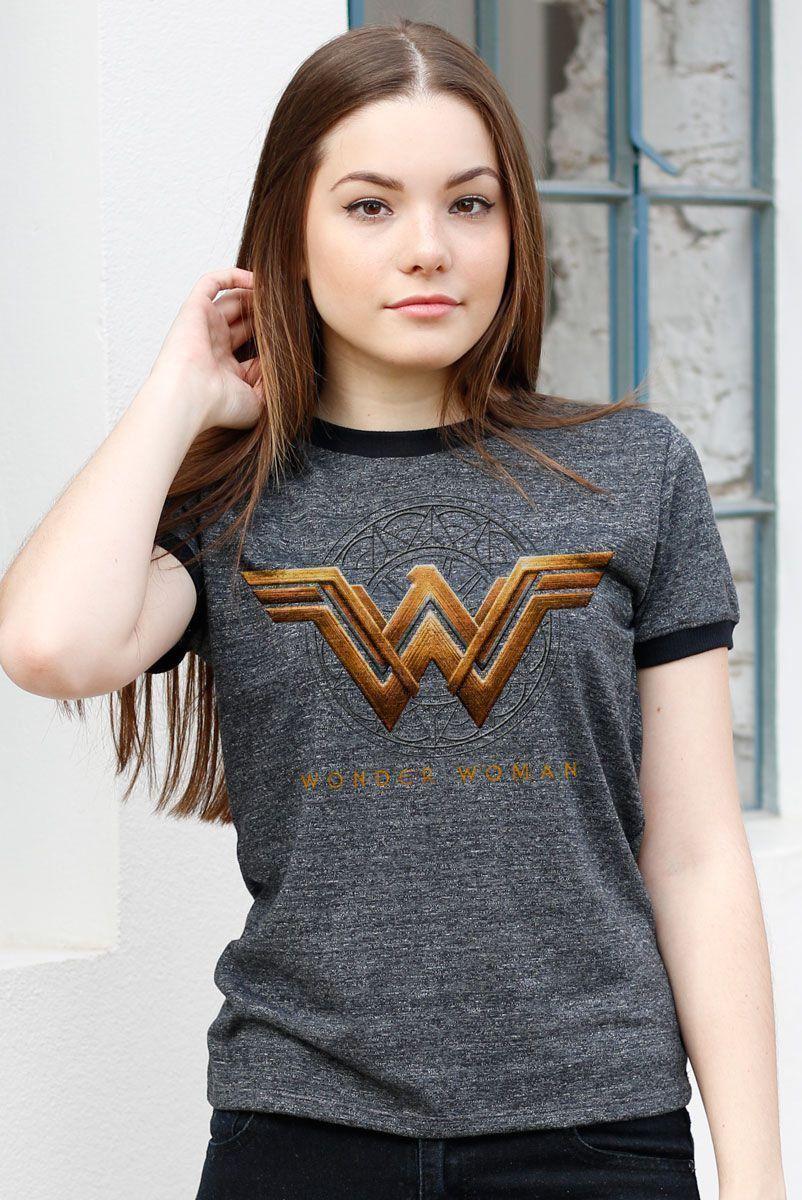NÃO ATIVAR Camiseta Ringer Feminina Mulher Maravilha Logo Filme